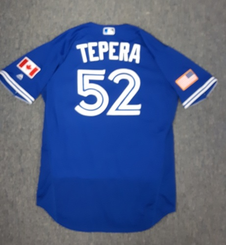 Authenticated Game Used Independence Day Jersey (July 4, 2017) - #52 Ryan Tepera. Tepera went 1 IP with 2 Ks. Size 46