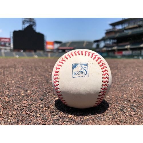 Photo of Colorado Rockies Game-Used Baseball - Pitcher: Mike Leake, Batter: Charlie Blackmon - Single to Heredia - July 15, 2018