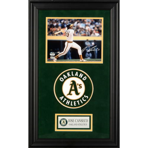 "Photo of Jose Canseco Oakland Athletics Deluxe Framed Autographed 8"" x 10"" Photo"