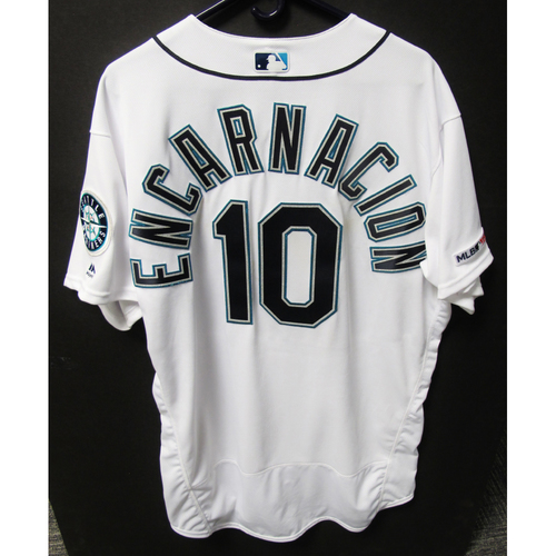 Photo of Seattle Mariners Edwin Encarnacion Game-Used White Jersey - Athletics vs. Mariners - 5/14/19