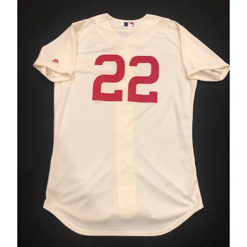 Photo of Derek Dietrich -- Game-Used 1936 Throwback Jersey (Defensive Substitution at 1B) -- Cubs vs. Reds on June 30, 2019 -- Jersey Size 44