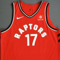 Jonas Valanciunas - Toronto Raptors - 2018-19 Season - Canada Series - Game-Worn Red Icon Edition Jersey