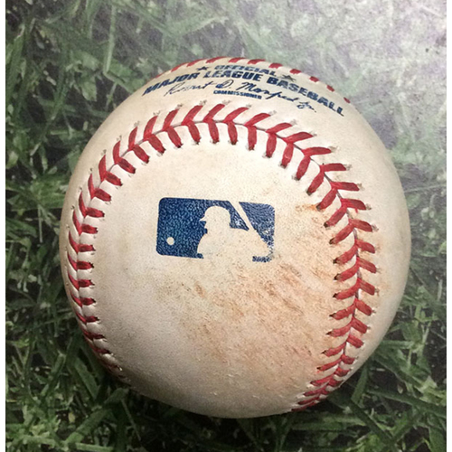 Photo of Game-Used Baseball HOU@MIL 09/03/19 - Zack Greinke - Jordan Lyles (Strikeout) & Trent Grisham (Single)