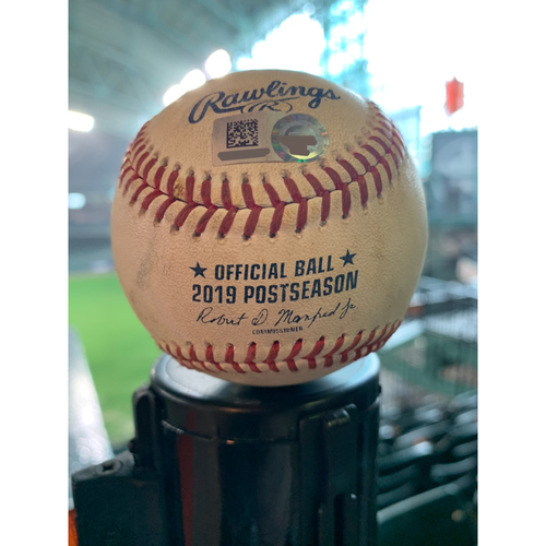 Photo of 2019 Game-Used Baseball Game 1 ALCS 10/12/19 Astros vs. Yankees: Zack Greinke to DJ LeMahieu - Top 4th (Single to LF)