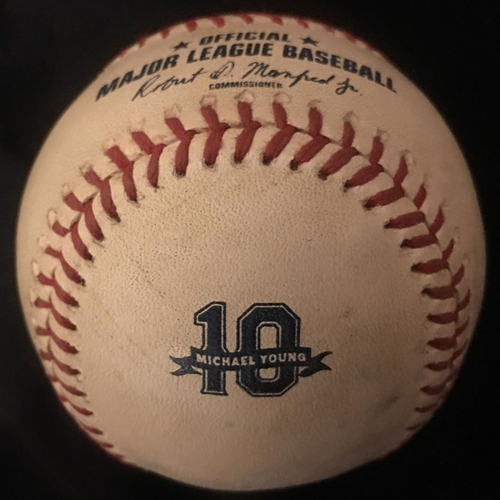 Photo of Michael Young #10 Commemorative Logo Game Used Baseball - 8/31/2019 - SEA vs. TEX - Mallex Smith 1B Off of Brock Burke