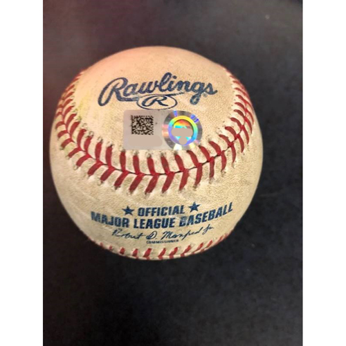 Photo of Game-Used Baseball - 2020 ALCS - Houston Astros vs. Tampa Bay Rays - Game 6 - Pitcher: Cristian Javier, Batter: Manuel Margot (2-Run Home Run) - Bot 8