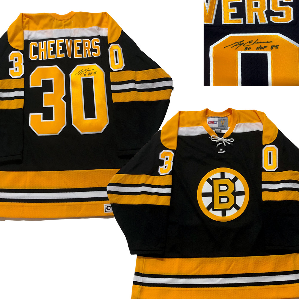 GERRY CHEEVERS Signed Boston Bruins Black CCM Jersey - HOF