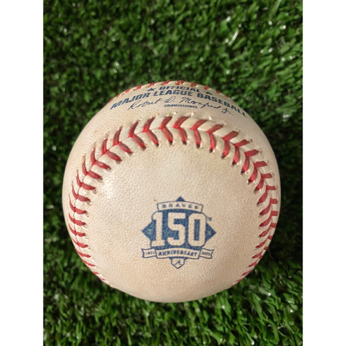 Photo of Cristian Pache Game Used Hit Double Baseball - 4/11/21, Bottom 4