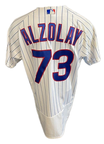 Photo of Adbert Alzolay Game-Used Jersey -- Mother's Day 2021 -- Pirates vs. Cubs -- 5/9/21 -- Size 44