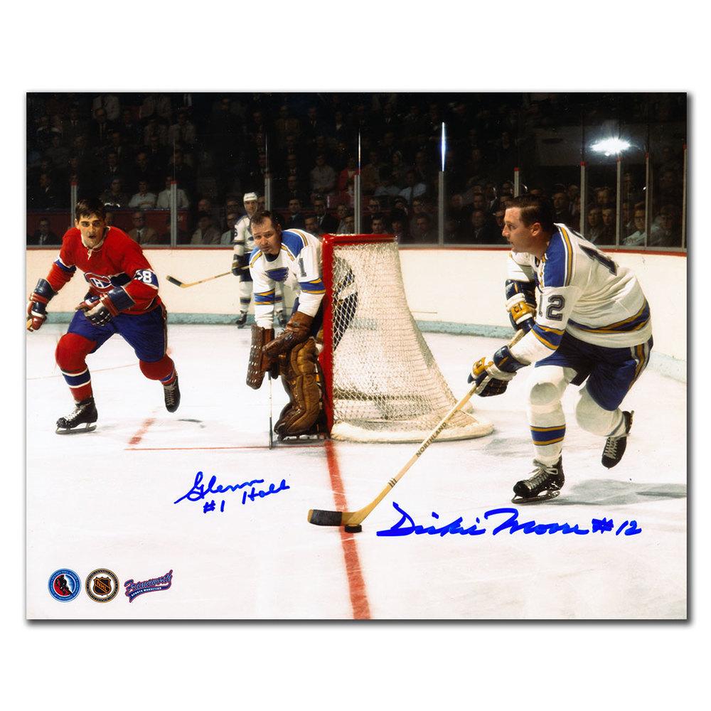 Glenn Hall & Dickie Moore St. Louis Blues Dual Autographed 8x10