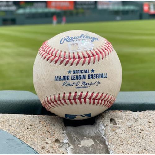Photo of Game-Used Baseball - Pitcher: Carlos Estevez, Batter: Evan Longoria (2 RBI Double (12) to Garrett Hampson) - September 8, 2021