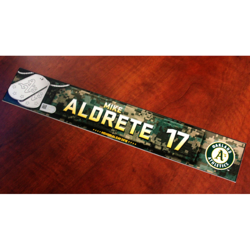 Photo of Mike Aldrete 2018 Team Issued Memorial Day Locker Nameplate