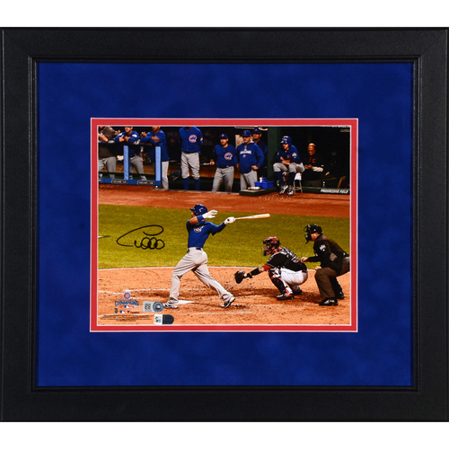 "Photo of Willson Contreras Chicago Cubs 2016 MLB World Series Champs Framed Autographed 8"" x 10"" World Series Hitting Photo"