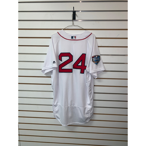 Photo of David Price Game Used October 24, 2018 World Series Game 2 Home Jersey