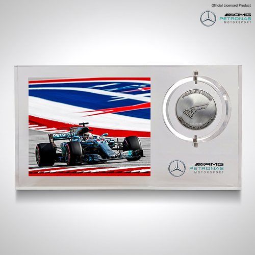Photo of Lewis Hamilton 2017 Austin Official Race Win Medal - Mercedes-AMG Petronas Mo...