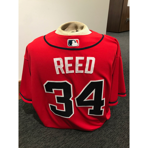Photo of Marty Reed 2019 Atlanta Braves Game-Used Los Bravos Day Jersey
