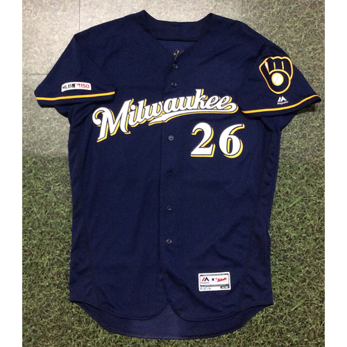 Photo of Jacob Nottingham 05/17/19 Game-Used Navy Ball & Glove Jersey - 2-3, HR, 4 RBI