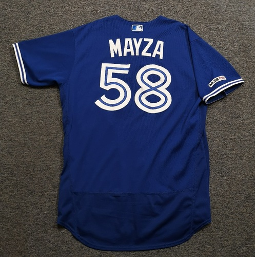 Photo of Authenticated Game Used Jersey - #58 Tim Mayza (Mar 30, 19: 0.2 IP, 0 ER, 1 BB, 1 K). Size 48.