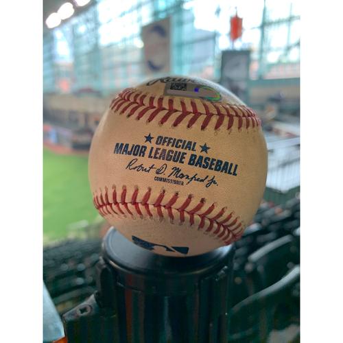 Photo of 2019 Game-Used Baseball  9/20/19 Astros vs. Angels: Jamie Barria to Carlos Correa - Bottom 3rd (Homerun to LF)