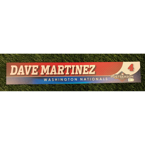 Photo of Game-Used Dave Martinez 2019 Postseason Locker Tag