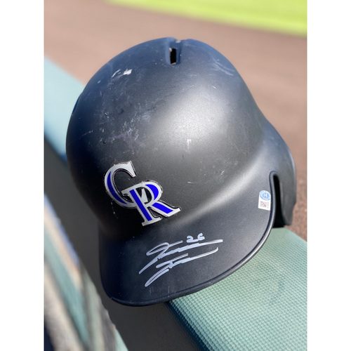 Photo of Colorado Rockies Autographed Helmet: David Dahl Size 7 1/4