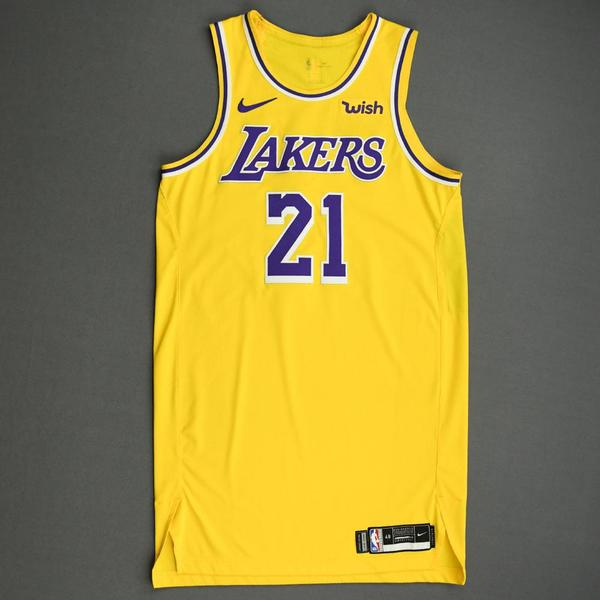 Image of Zach Norvell Jr. - Los Angeles Lakers - NBA China Games - Game-Worn Icon Edition Jersey - 2019-20 NBA Season
