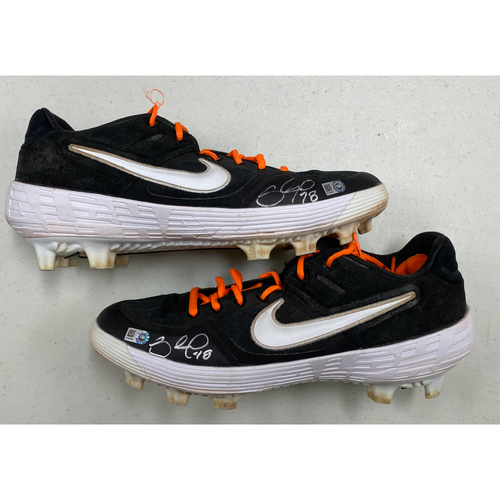 Photo of Autographed Black & Orange Nike Cleats signed by #48  Pablo Sandoval - Size 11