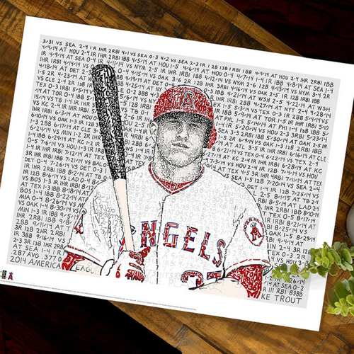 2014 MVP Mike Trout Art Print by Dan Duffy, Art of Words - Anaheim Angels