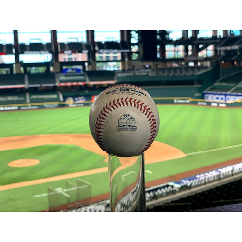 Photo of Game-Used Baseball - 8/28/2020 - LAD @ TEX - Mike Minor vs. Mookie Betts/Corey Seager - Strikeout/Foul Ball