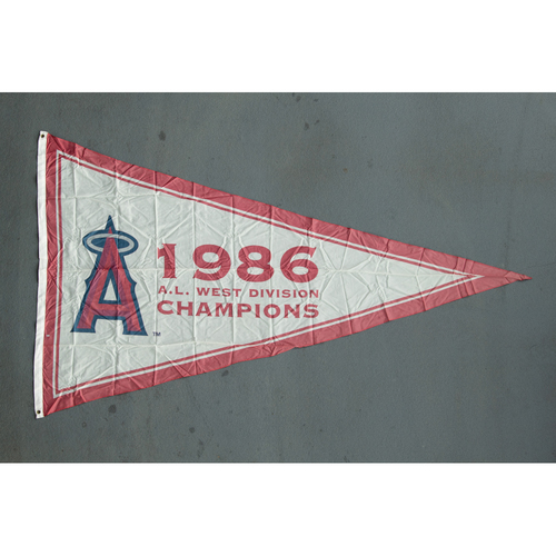 Photo of Los Angeles Angels 1986 American League West Division Champions Team-Issued Pennant