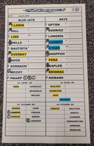 Photo of Authenticated Game Used Lineup Card (June 8, 2010 at TBR):  Carlos Pena with 2 HRs and 5 RBIs