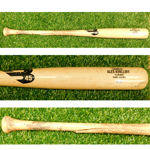 Photo of Minnesota Twins: 2021 Game-Used Broken Bat - P: Carlos Rodon to H: Alex Kirilloff for Fly Out to LF - Bottom 2nd - 7/6/2021