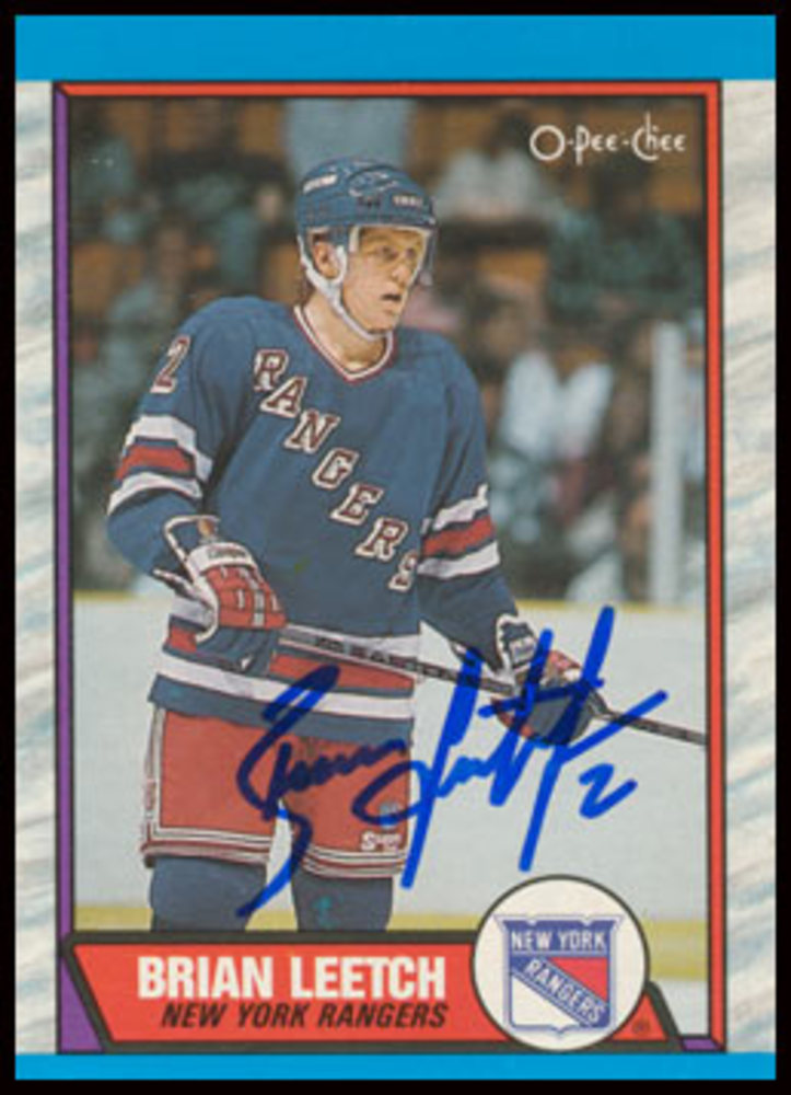 1989 OPC #136 Brian Leetch Autographed Rookie Card - New York Rangers