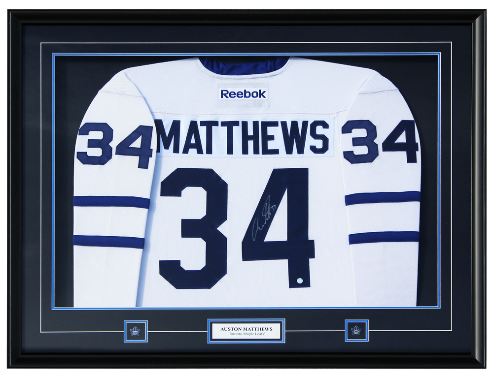 Auston Matthews -  Framed Signed Toronto Maple Leafs Reebok Jersey
