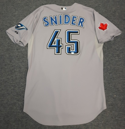 Photo of Authenticated Game Used Jersey - #45 Travis Snider (April 16, 2011). Snider went 1-for-4 with 1 RBI. Size 48
