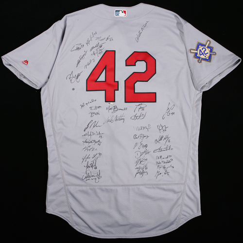 Photo of 2018 Jackie Robinson Day Jersey - St. Louis Cardinals Team Autographed Jersey