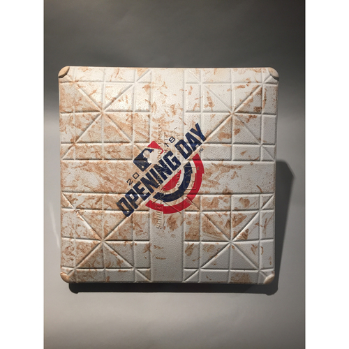 Photo of 2018 Cincinnati Reds Opening Day Base - 2nd Base used in the 6th inning