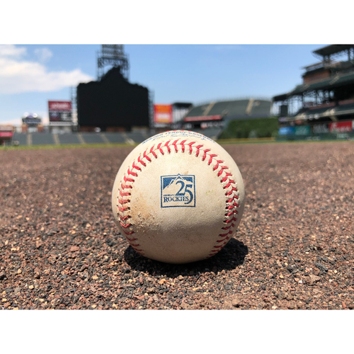 Photo of Colorado Rockies Game-Used Baseball - Pitcher: Wade Davis, Batter: Buster Posey - Double (18) to Gonzalez - July 2, 2018
