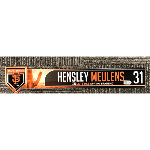 Photo of 2018 Team-Issued Spring Training Locker Tag - #31 Hensley Meulens