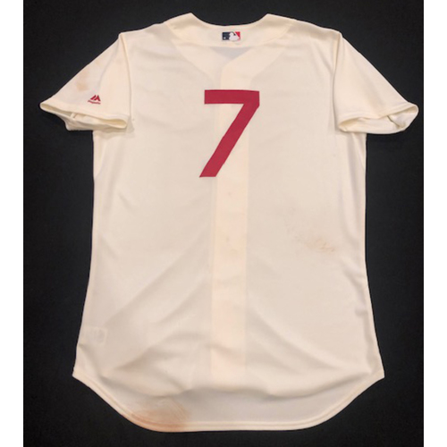 competitive price 782bf a4446 Reds Auctions | Eugenio Suarez -- Game-Used 1936 Throwback ...