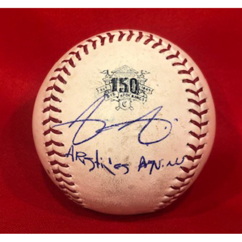 Photo of Aristides Aquino -- Autographed -- Game-Used Ball from Aquino 3-Homer Game (VanMeter RBI-Double) -- Aquino Ties MLB Record with 7 Homers in First 10 Career Games on 8/10/19