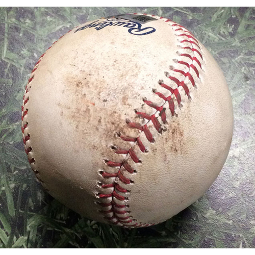 Photo of Game-Used Baseball ARI@MIL 05/27/17 - Zack Greinke - Chase Anderson: Strikeout