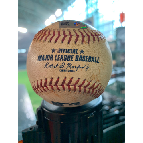 Photo of 2019 Game-Used Baseball  5/28/19 Astros vs. Cubs: Corbin Martin to Javier Baez - Top 1st (Single to RF)
