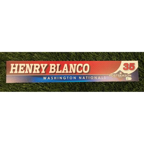 Photo of Game-Used Henry Blanco 2019 Postseason Locker Tag