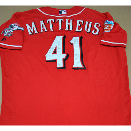 Photo of Game-Used 2016 Spring Training Jersey - Ryan Mattheus - Size 48 - Cincinnati Reds