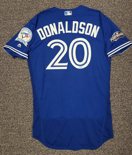Photo of Authenticated Game Used Postseason Jersey: #20 Josh Donaldson (Oct. 19, 2016: ALCS Game 5 - 1-for-4). Size 44