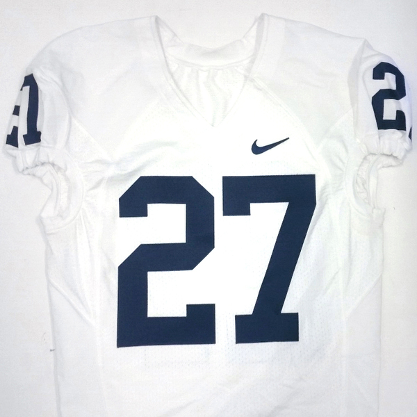 Photo of Penn State Game Used Football Jersey: White #27 (Size 44)