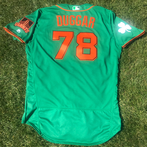Photo of San Francisco Giants - 2018 St. Patrick's Day - Game-Used Jersey - Steven Duggar