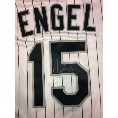 Photo of Adam Engel Autographed White Pinstripe Jersey - Size 46