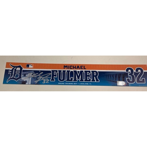 Photo of Autographed Michael Fulmer Locker Name Plate: 2017 Spring Training